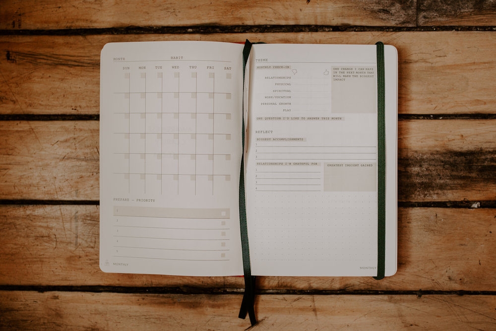 Monthly - There will never be enough time to do everything you want to do. Our months are a natural checkpoint for us to ask ourselves what really is most important right now? We recalibrate, prioritize and chart a course for another month, taking one step further towards a fuller life.