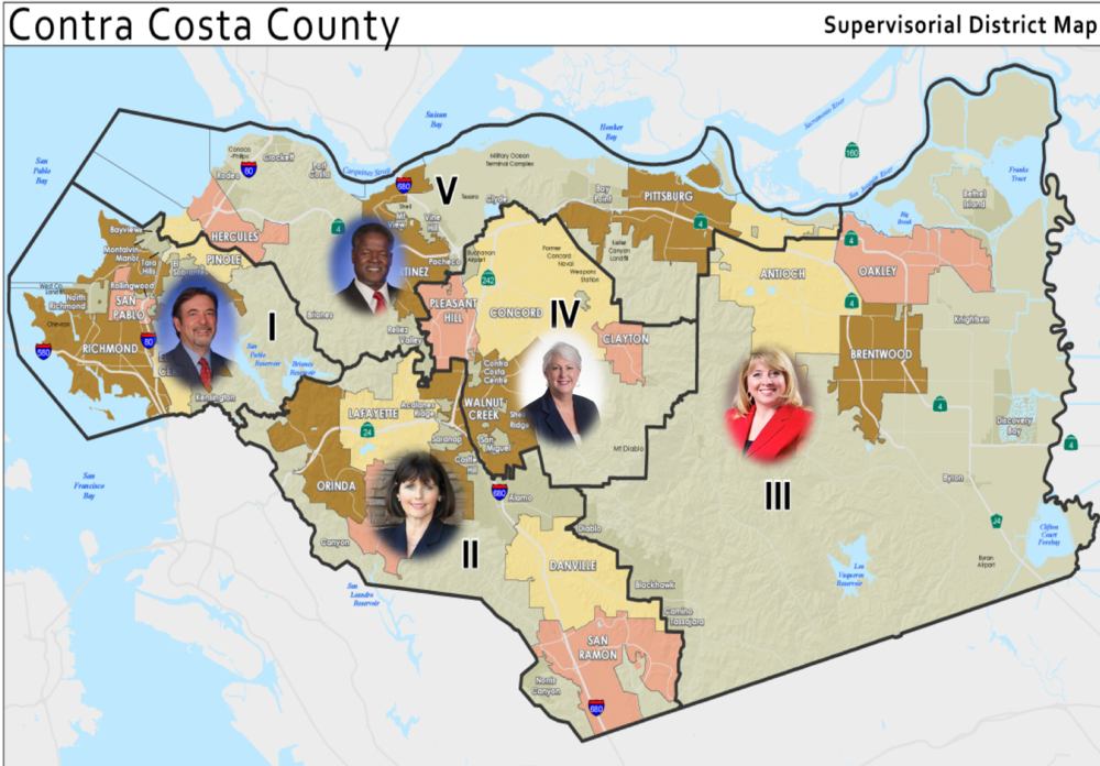 This is the current map showing the  Contra Costa County Board of Supervisors Districts.  Following the 2020 census, there will be redistricting in 2021.