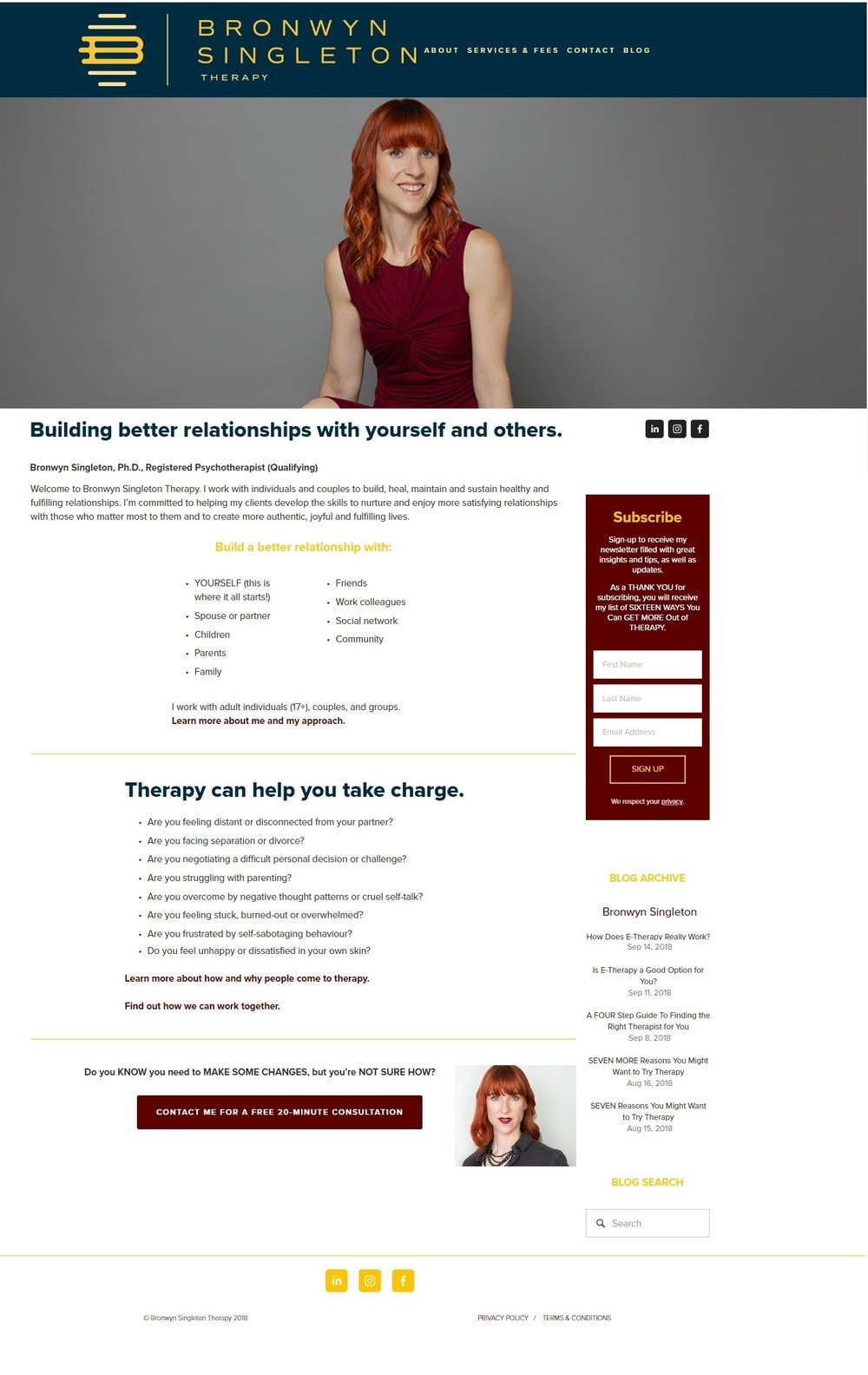 Bronwyn Singleton Therapy - website by CAVEA studio