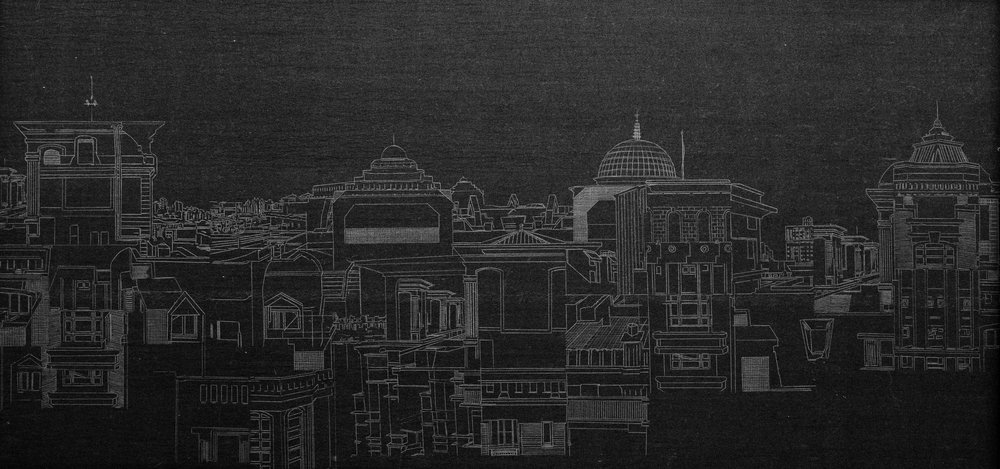 Tower City #1701N, Carbon Transfer Paper, 40x90cm, 2017