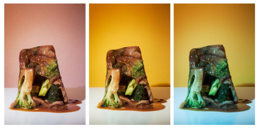 "Beef and Broccoli #4-1, #4-2, #4-3, 10""x16"" each, Archival Inkjet Print, 2011.  芥蘭牛四號之一、四號之二、四號之三,25x40公分,無酸微噴藝術紙,2011。"