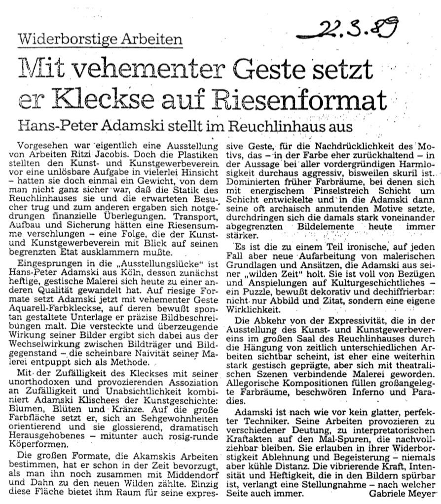 Pforzheimer Tageszeitung  1989