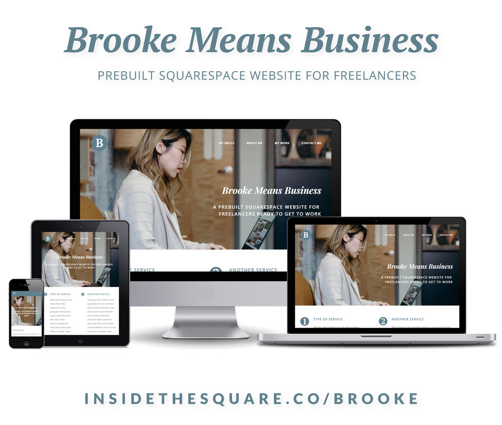 Created for freelancers ready to promote their services, Brooke Means Business is a single page website that will help you launch your offerings to the world wide web. Learn more at InsideTheSquare.co #freelancer #website #webdesign #squarespace