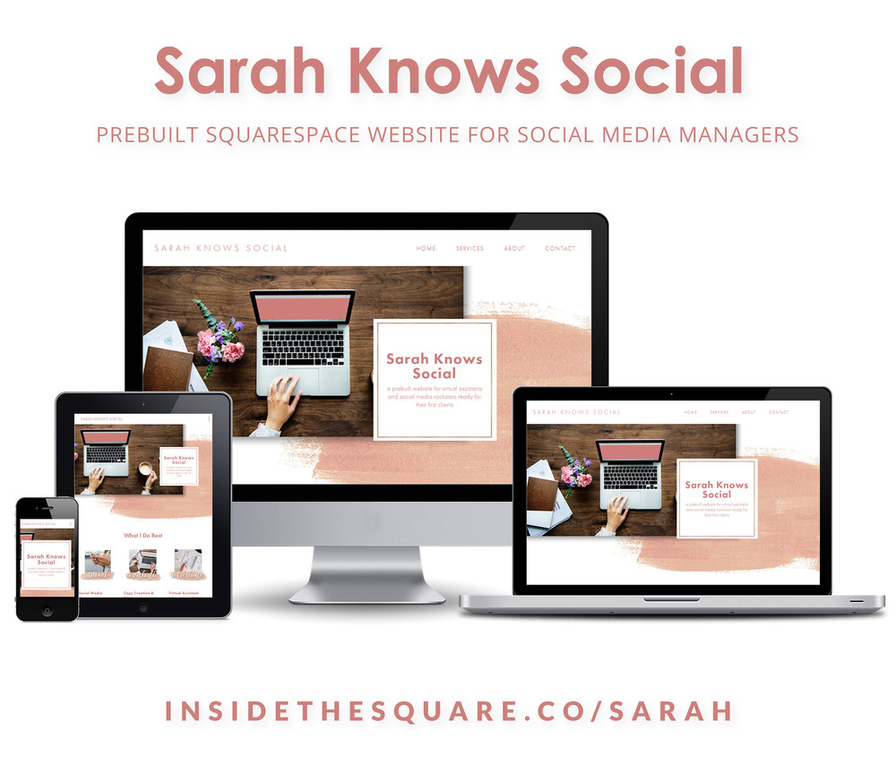 Sarah Knows Social is a prebuilt Squarespace kit for virtual assistants! Make this site yours - order now at InsideTheSquare.co/Sarah