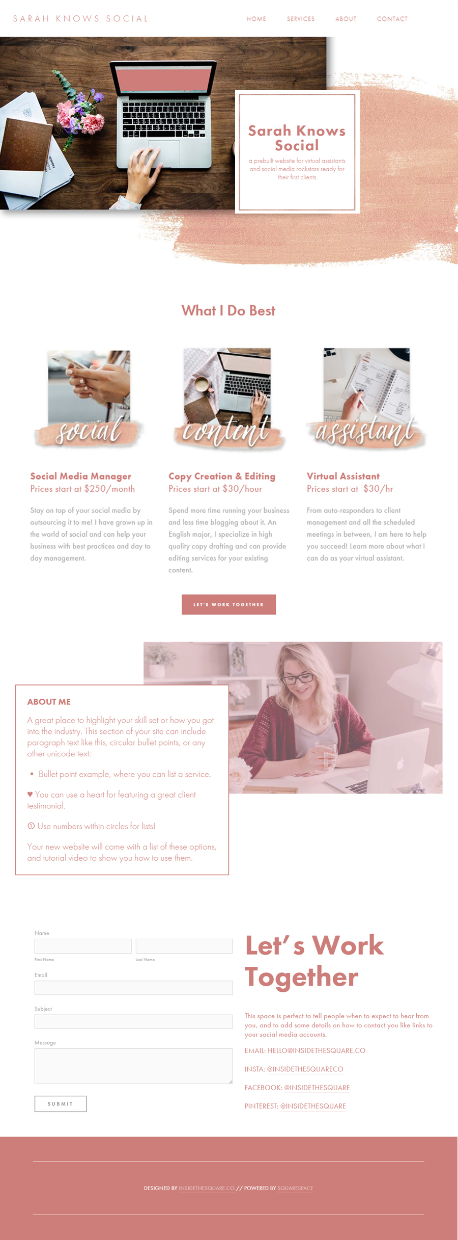 Sarah Knows Social // a premade Squarespace website for social media marketing pros from InsideTheSquare.co