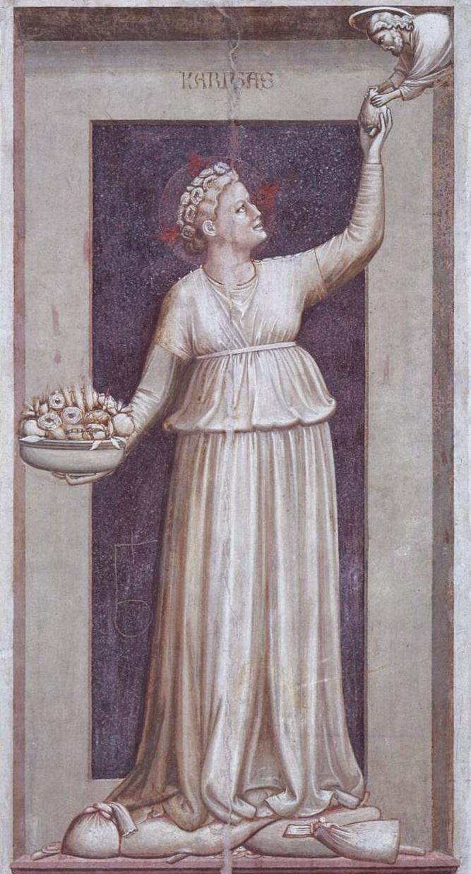 Charity,  by Giotto di Bondone. Scrovegni Chapel, Padua. 1306.