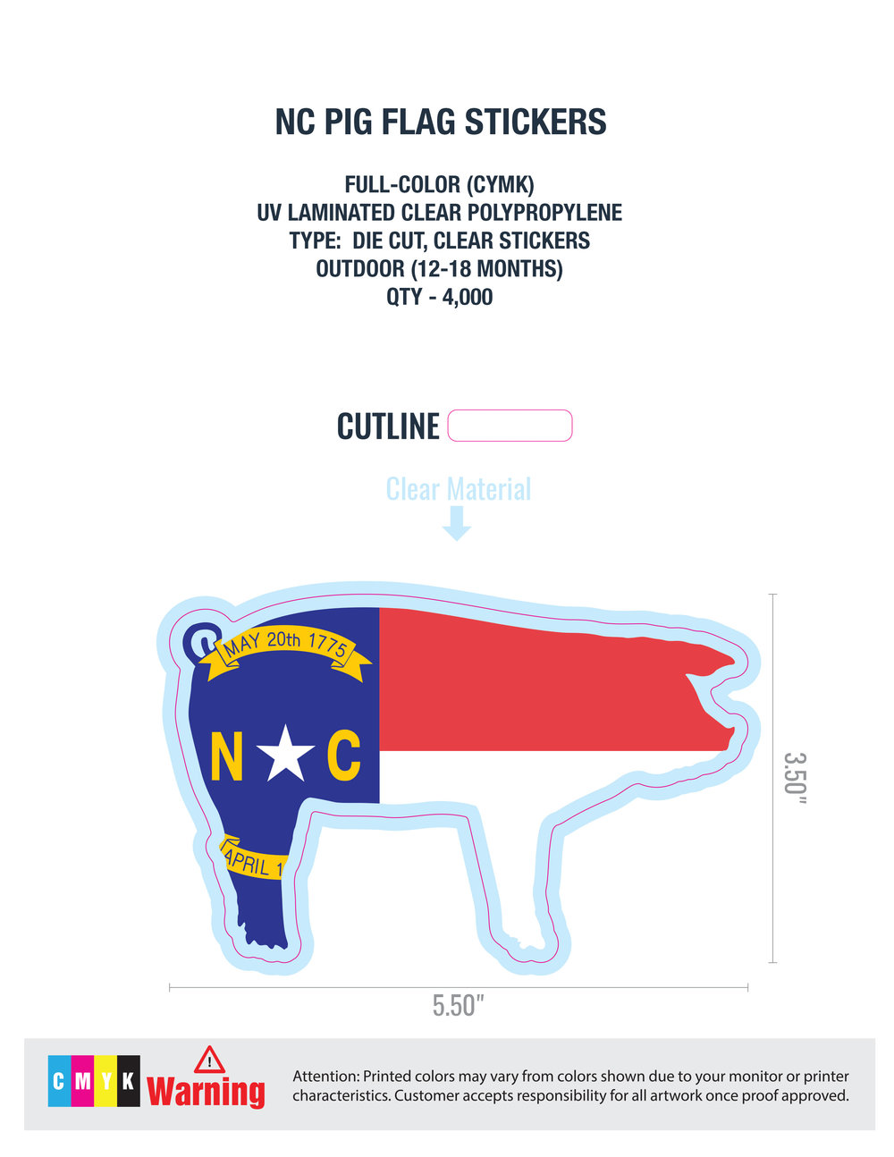 NC Pig Flag Sticker - 2-3 Day Production Time