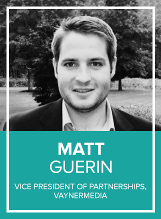- Matt Guerin is VP of Partnerships at VaynerMedia. He's focused on business development for emerging and established media companies within the social and digital environment. Previous to VaynerMedia, Matt spent 6 years working in business development for an MIT incubation group out of Cambridge, MA building consumer acquisition companies in the insurance and automotive space.