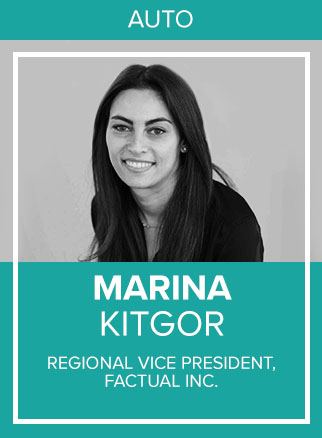 - As Regional Vice President, East - Agencies & Marketers, Marina is responsible for driving awareness and adoption of Factual's Geopulse ad solutions with brands, agencies, trading desks, and sales partners across the East Coast and Latin America regions.Marina brings more than eight years of experience in digital advertising to Factual and has had a focus on growing teams and scaling businesses. Prior to joining Factual in 2017, Marina was Regional Vice President of Sales at Taykey, a real-time data company that was recently acquired by Innovid. At Taykey she managed the East Coast sales team and helped scale revenue from $0 to $20M. Earlier in her career, Marina oversaw the entertainment advertising division at the New York Post where she partnered with major movie studios and TV networks including Paramount, Sony Pictures, CW, NBCU, and more.