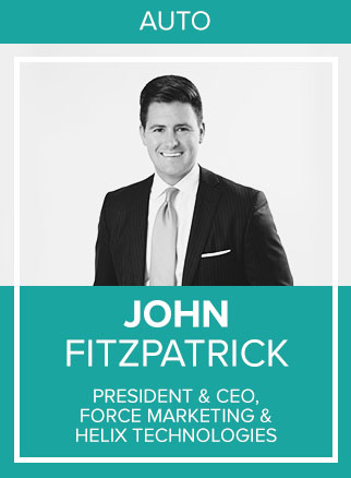 - John W. Fitzpatrick is the President and CEO of Force Marketing and Helix Technologies. He co-founded Force Marketing in 2007, and since then, it has grown to boast more than 120 team members with headquarters in Atlanta and NYC.One of the nation's leading tech-enabled digital marketing companies, Force Marketing partners with more than 1,200 dealership rooftops, including Sonic Automotive, Berkshire Hathaway Automotive, and many other prominent clients. The company also works with with Ford, General Motors, FCA, and Honda at the Tier I & II levels.Socials: IN, TW, IG