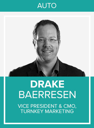 - Drake Baerresen is the Co-Founder and CMO of TurnKey Marketing, a diversified automotive marketing, advertising, technology and consulting firm founded in 2002. He is heavily involved in dealer education initiatives and emerging technologies that help dealerships operate and market themselves more efficiently. Drake's expertise with scaleable dealership marketing and operations has been applied to dealerships and OEMs in three continents, including many of the top 10 largest volume dealerships.Social Channels: IN