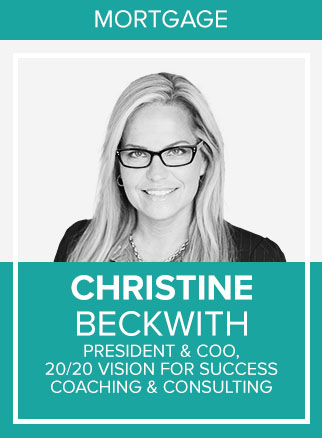 - Christine Beckwith became a 30-year mortgage industry veteran in 2018. Over 3 decades she has consistently won in mortgage sales originations at all ranks, from the Loan Officer seat and up the ranks all the way to her Regional sales management roles at the top 5% consistently. Due to her consistent and exceptional sales credibility and a natural penchant for leadership she would do the unthinkable and bring team after team to unimaginable success at the very top ranks of the firms she worked for and as a minority in her field with women executive level leaders only representing 2% of the mortgage banking industry. For the past 18 years she has run mortgage companies at a senior and executive level. During that time, she has continued to win public awards for breaking several glass ceilings. She would become a sought after public speaker on the mortgage circuit and this year has won numerous awards by many organizations and magazines culling through nominations for leaders they consider elite. She has written and released two bestselling books in early 2018 and writes in many mortgage publications. When asked what Christine sees in her future she will tell you she desires to launch her coaching company fully into our market and get out there and grab coaching market share currently dominated by the boys!