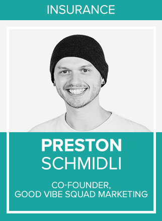 - Preston Schmidli is the Co-Founder of Good Vibe Squad - Feel Good Marketing, building sales systems for Insurance and Mortgage Professionals. He is also the author of