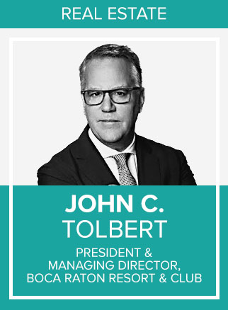 - John C. Tolbert, President and Managing Director at Boca Raton Resort & Club, A Waldorf Astoria Resort, is responsible for creating and implementing the vision and direction as well as overseeing the day-to-day operations for one of the country's premier resort destinations and private club facilities. Tolbert additionally serves on several business and community boards, including American Hotel & Lodging Association, Boca Raton Chamber of Commerce, Palm Beach Cultural Council, Boca Bowl and Nova University Business School MBA Hospitality as Advisor to the Board.A serial entrepreneur, Tolbert founded Revelation Consultancy, a leading real estate advisory group that counsels decision-makers in the areas of strategy, marketing, sales, and operations with specialty in resort, residential real estate, private clubs and hospitality industries. Past clients include: Goldman Sachs; Deutsche Bank, The Cosmopolitan of Las Vegas; Archon Capital, Waldorf-Astoria Park City; Falcon Investors, The St. Regis Deer Valley and The Deer Crest Club at The St. Regis; Firesky Capital, Barbuda, Anguilla; Talisker Corporation - Talisker Club and The Canyons; Noble House Hotels and Resorts.Socials: FB, IN, TW, IG