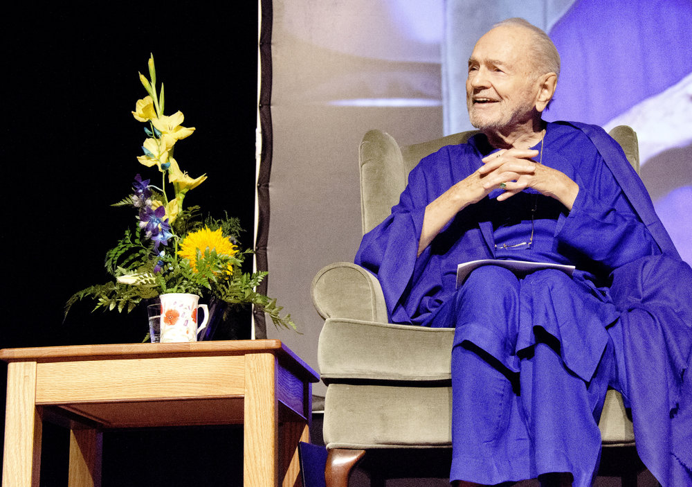 Swami speaking at Smithwick Theatre in 2012 in the San Francisco Bay Area