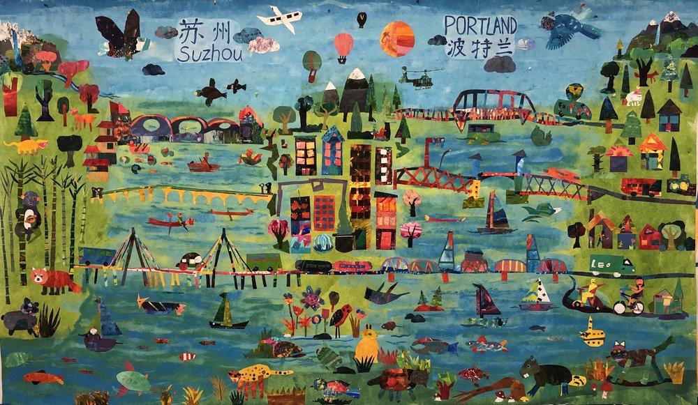 Portland Suzhou Bridge Mural by Woodstock Elementary 3rd Grade + Cooperating Artist: Sarah Ferguson