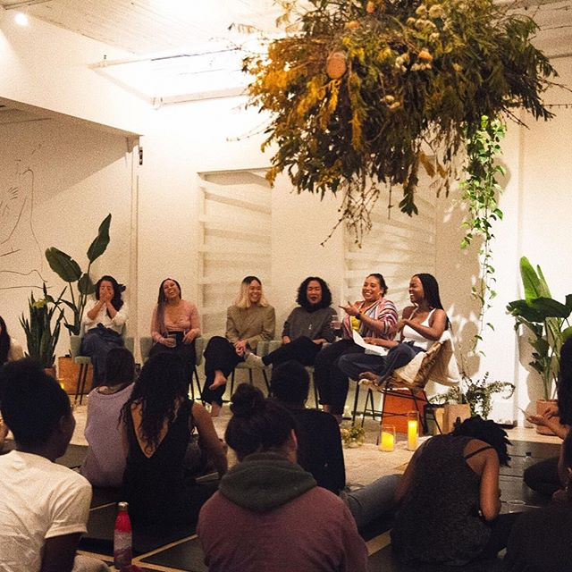 """""""collective self-healing happens when we invent images and representations that show us the way we want to be and are"""" - bell hooks ⚡️✨a glimpse into the magic that was melanin mixer last month. a room filled with 70 beautiful womxn of color re-writing the narrative & re-inventing the images and representations of how we see ourselves and how the world perceives us — special thank you to @lululemonyvr & my pals at the oakridge store for their support & helping me bring this dream to life. @kulakitchen & @gutsandglorynutrition for providing us with some bomb soul nourishment. @desireedawsonmusic & @softieshan for blessing us w/ their musical gifts. @artistrybychloehua for her beautiful jagua art 💛 ps. stay tuned in the next few weeks for an event series ive been dreaming to host for the last 2 years, finally come to life ⚡️"""