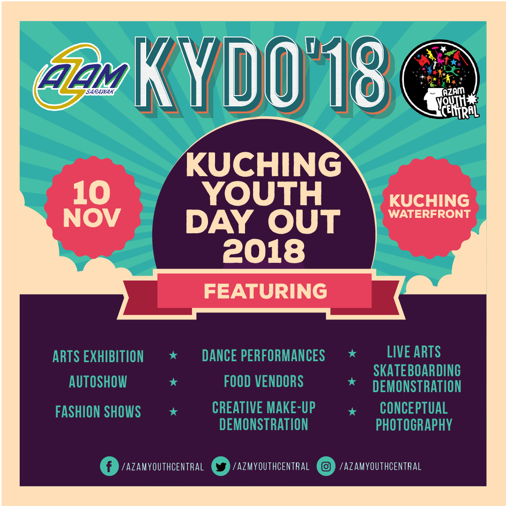 INSPIRE, INFLUENCE, IMPACT - KYDO is an exciting programme that will bring youths from diverse backgrounds and interests to converse, perform and play together as part of a healthy lifestyle and as a platform for youths to talk, be heard and included in Sarawak's development process