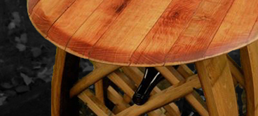 Wine Barrel Furniture - Our wine barrel furniture is designed and crafted to bring out the beautiful wine stained coloring in the wood. Check out the gallery to see our work.