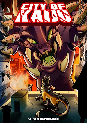 city of kaiju - Written by Steven CapobiancoA city overrun by giant monsters. Siblings separated by terror and chaos. And a large hybrid monster who becomes their unlikely ally.Valor City was the highlight of the world. During a graduation ceremony, an invasion by an army of giant beasts sends the once mighty city into Chaos. Separated from her sister, Sandra Lake must navigate a city filled with the biggest, baddest monsters ever to invade their world. However, a chance encounter with a dog-lizard hybrid, whom she names Bennie, gives her a renewed purpose for survival.The only thing standing in their way is the being that started it all: King Obsidian, the monstrous kaiju whose presence alone instills fear into the hearts of the humans they feast on. Sandra, Kelsey, and Bennie must escape Valor City, before they become food for the kaiju army.