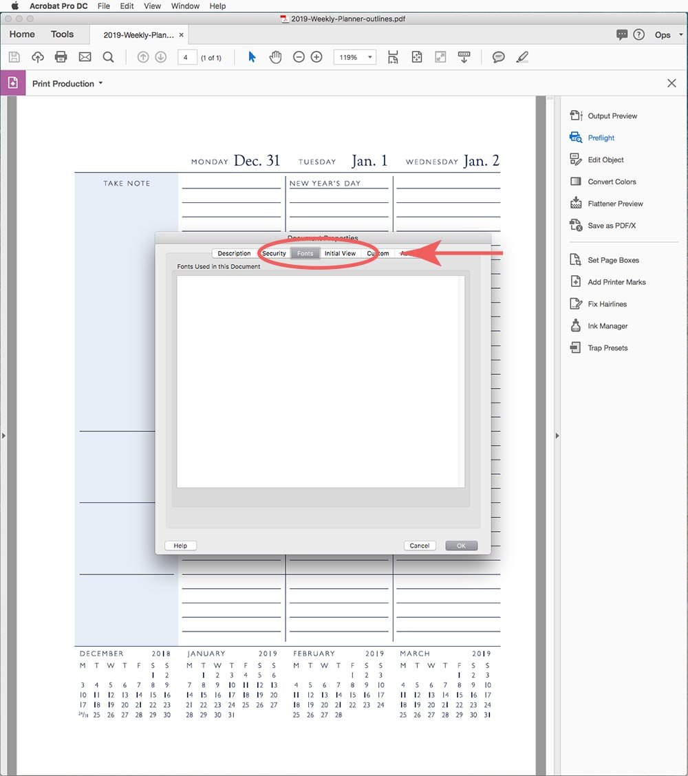 Converting fonts to outlines in a PDF file is often required by commercial printers. Learn how in three simple steps.