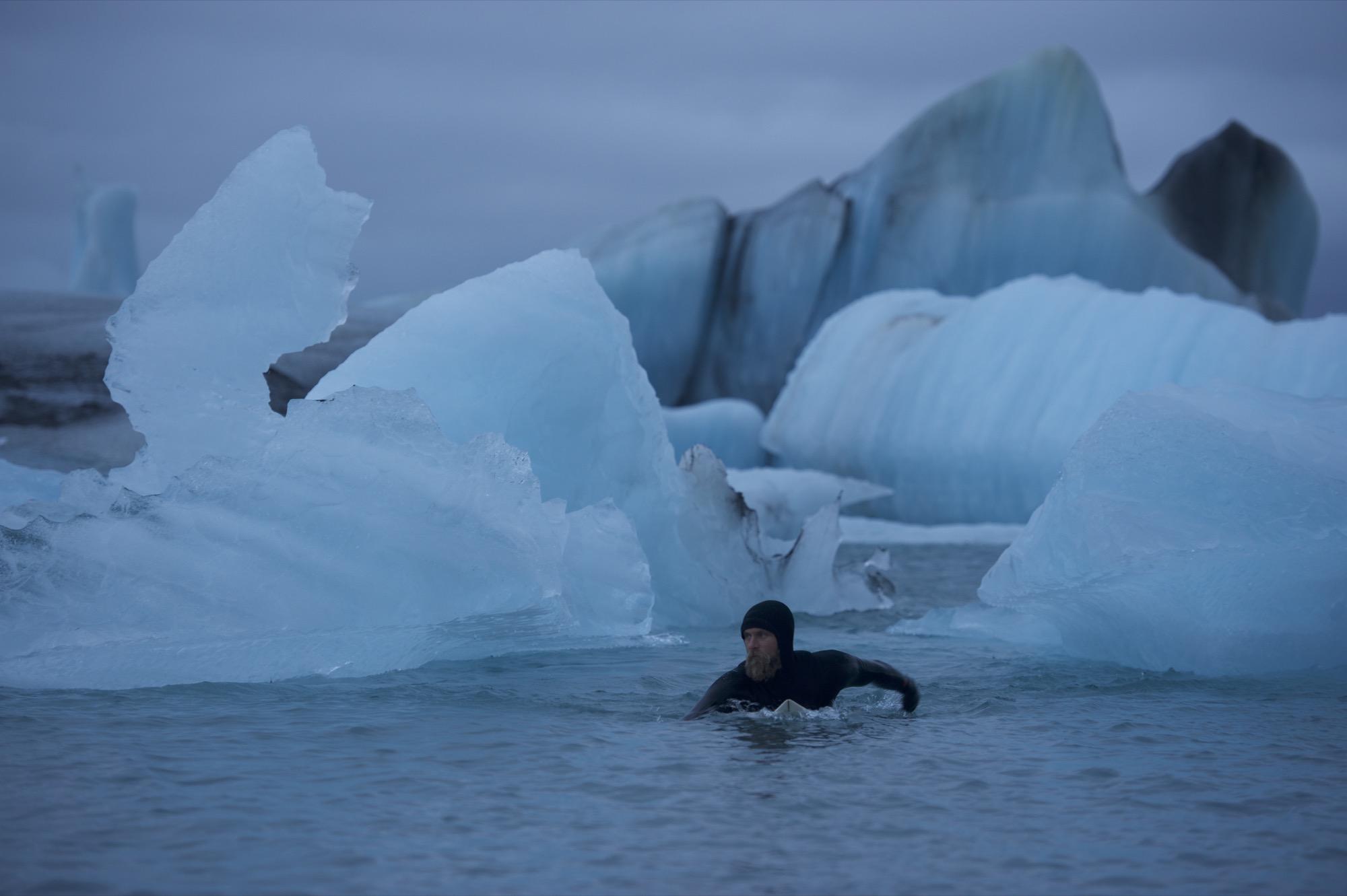 Keith Malloy, Jökulsárlón Glacier Lagoon Water temp: 34° F / 1° C Air temp: 29° F / -2° C Photo by Chris Burkard