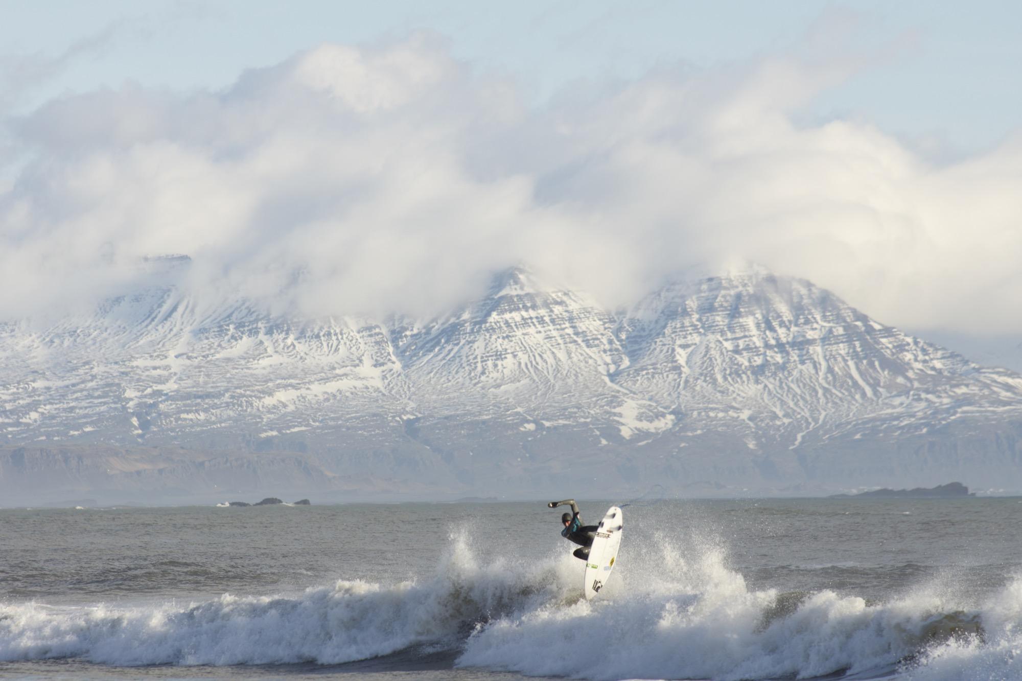 Brett Barley, Vik Iceland Water temp: 42° F / 6° C Air temp: 40° F / 4° C Photo by Chris Burkard