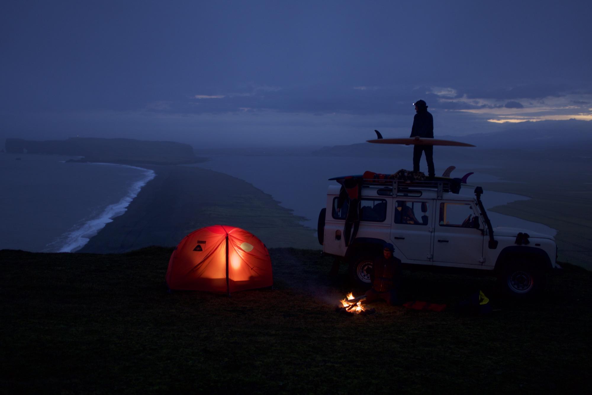 Reid Jackson and Mikey DeTemple, Dyrhólaey, Iceland<br /> Water temp: 48° F / 9° C<br /> Air temp: 52° F / 11° C<br /> Photo by Chris Burkard