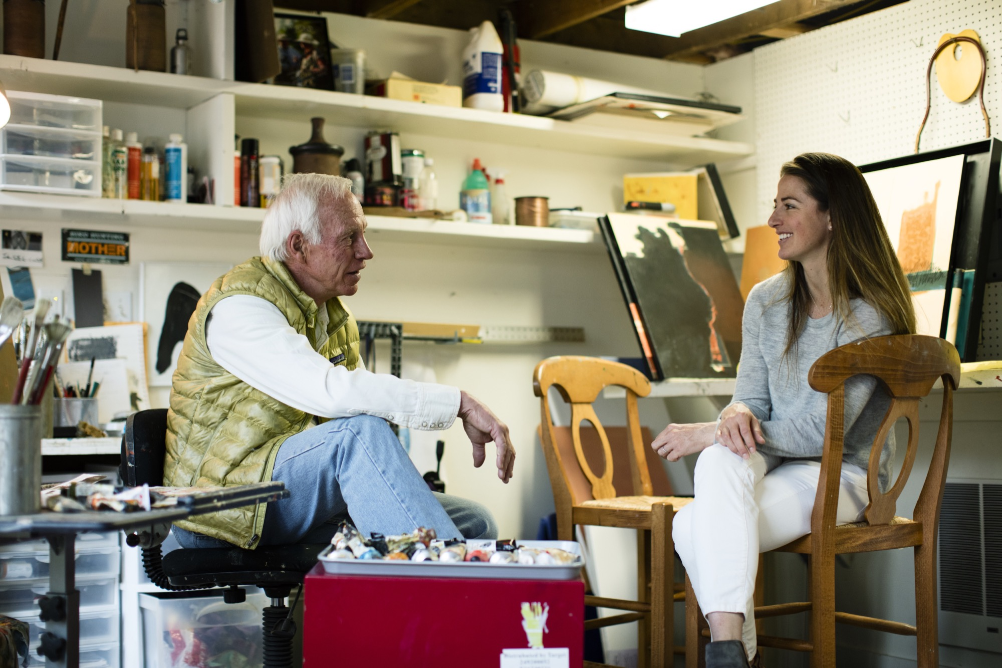 Journalist Lindsay Yaw Rogers interviews her famous father, architect Larry Yaw / Photo by Jamie Kripke