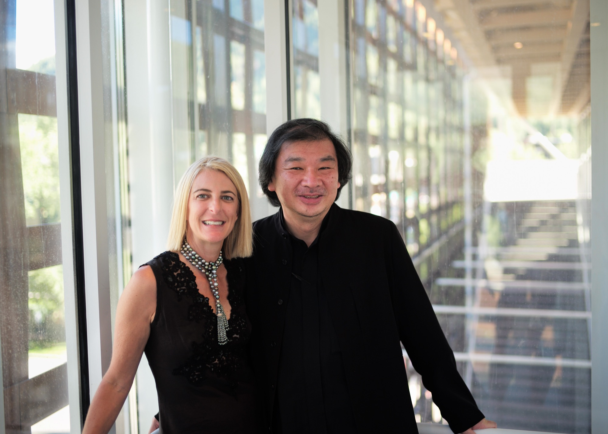 Architects Shigeru Ban and Heidi Zuckerman Jacobson, the museum's director, CEO, and chief curator / Photo courtesy of the Aspen Art Museum