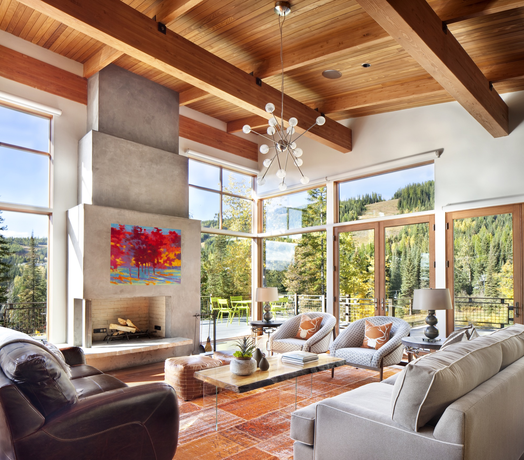 Modern Montana mountain home designed by Bear Mountain Builders
