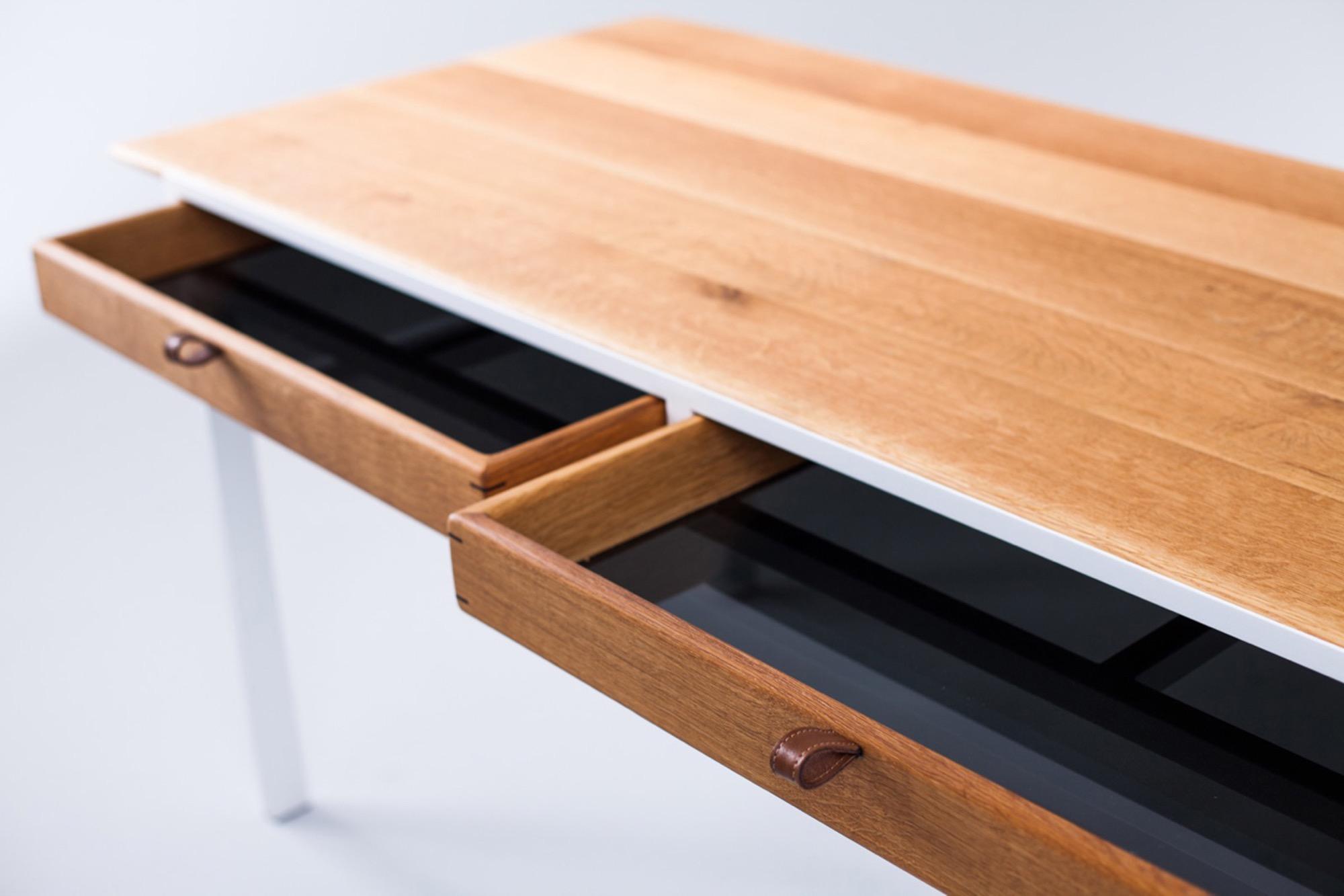 Forever desk in oak by Sean Woolsey