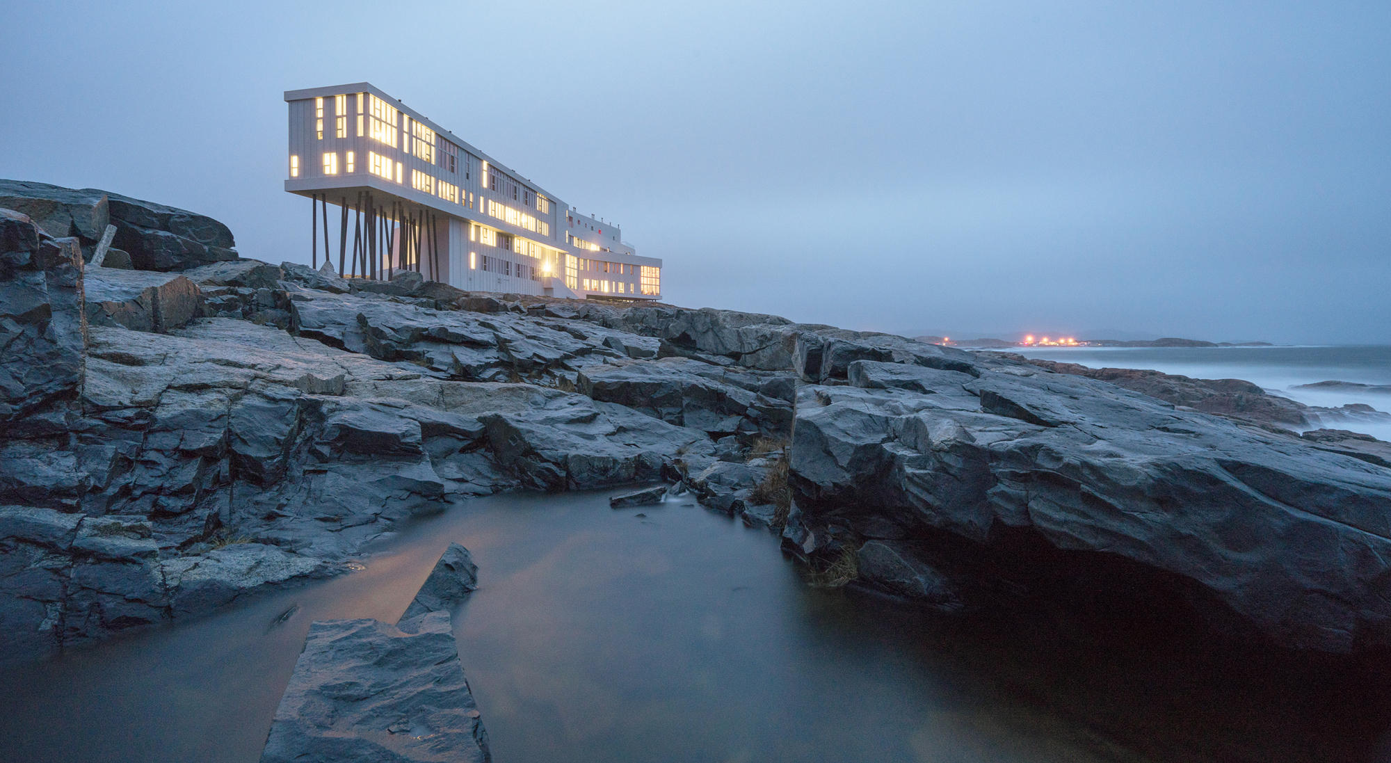 One of Donna Wilson's favorite places in the world, the Fogo Island Inn, where she designed furniture and wallpaper