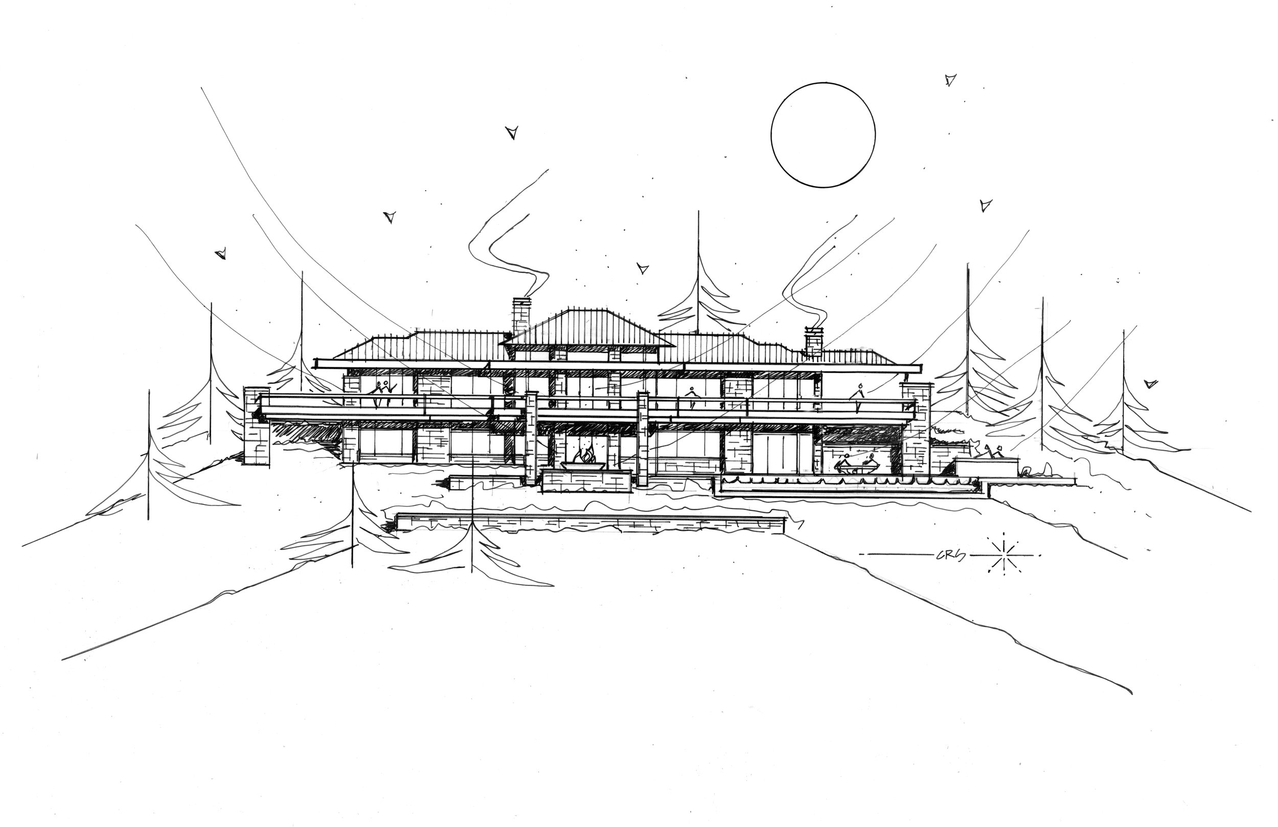 Drawing by architect Charles Stinson