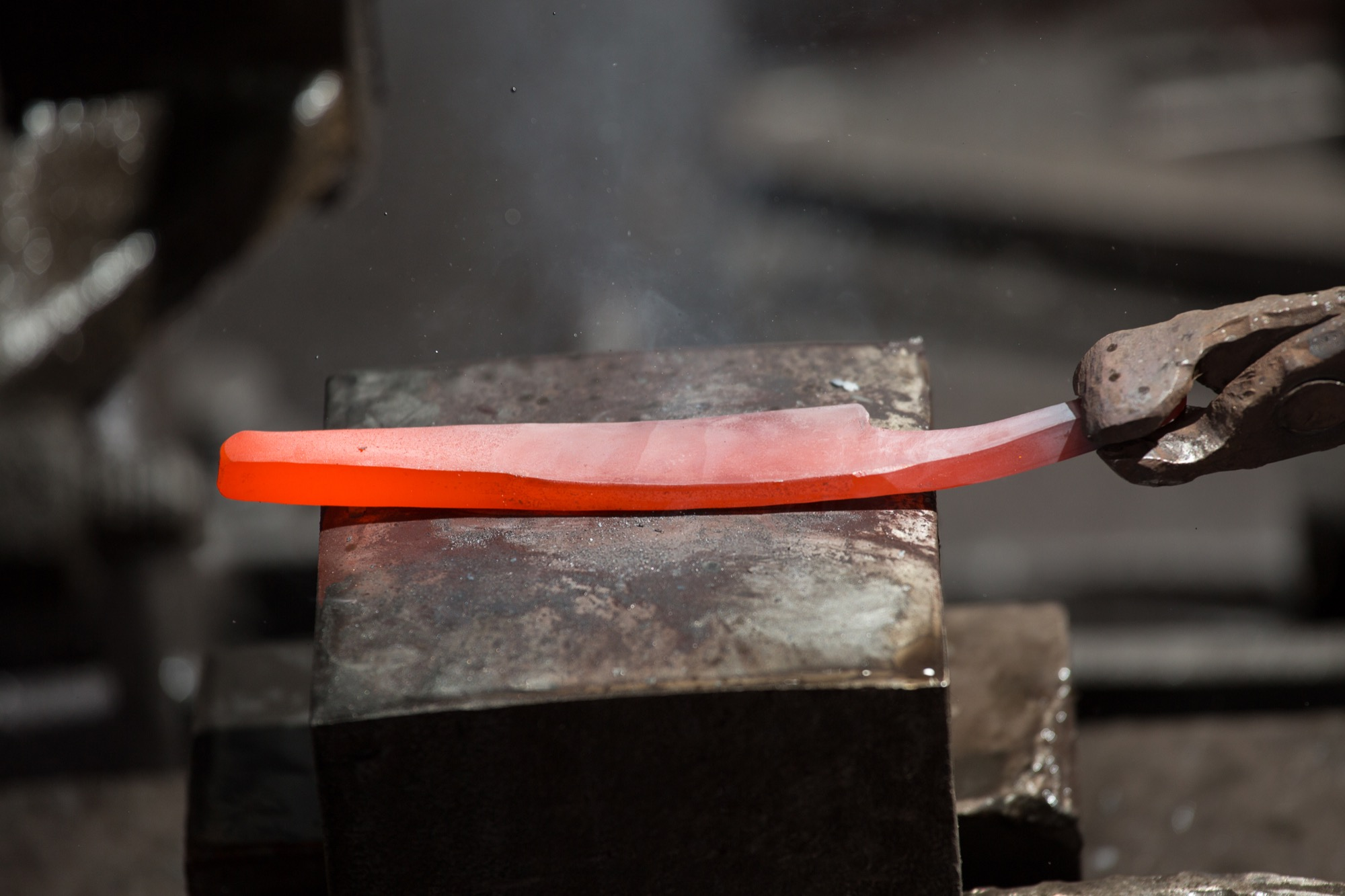 Takeda forges his blades from Aogami Super steel / Photo by Max Hodges