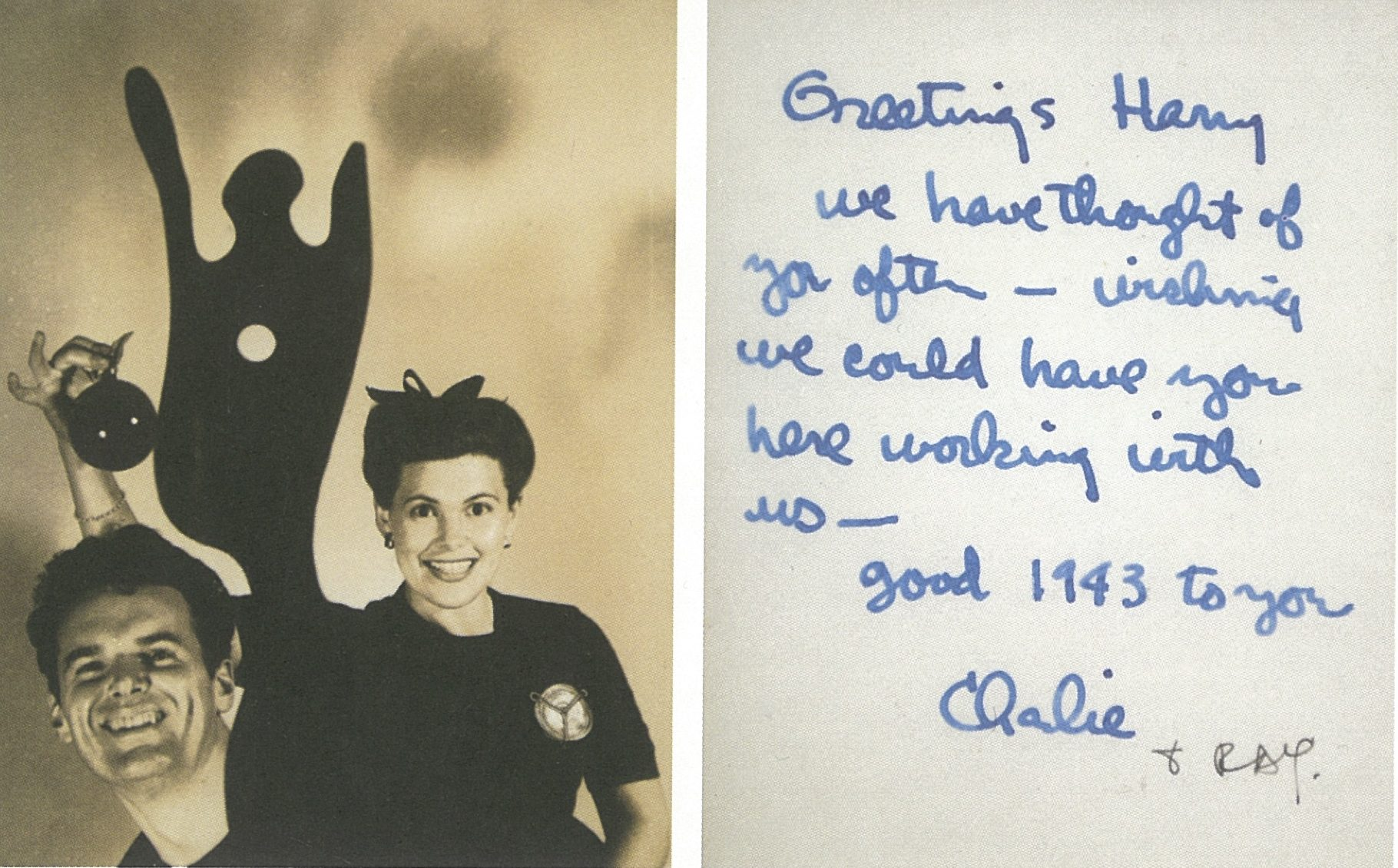 Christmas card from Charles and Ray Eames to Harry Weese, 1942