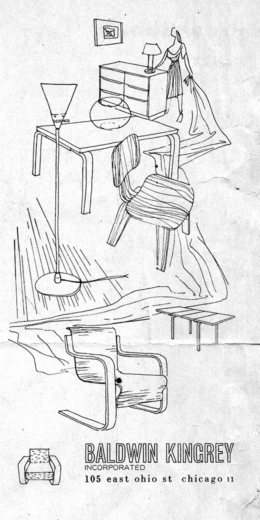 Original drawing by Harry Weese for Baldwin Kingrey's first ad, June 1947