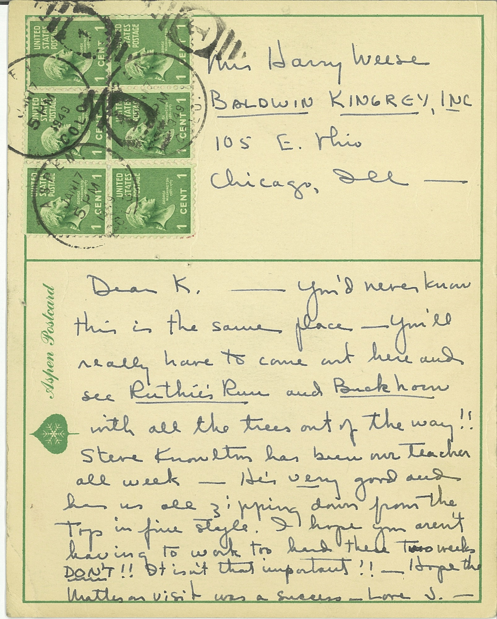 Postcard to Mrs Harry Weese, postmarked Aspen, January 17, 5 PM, 1949