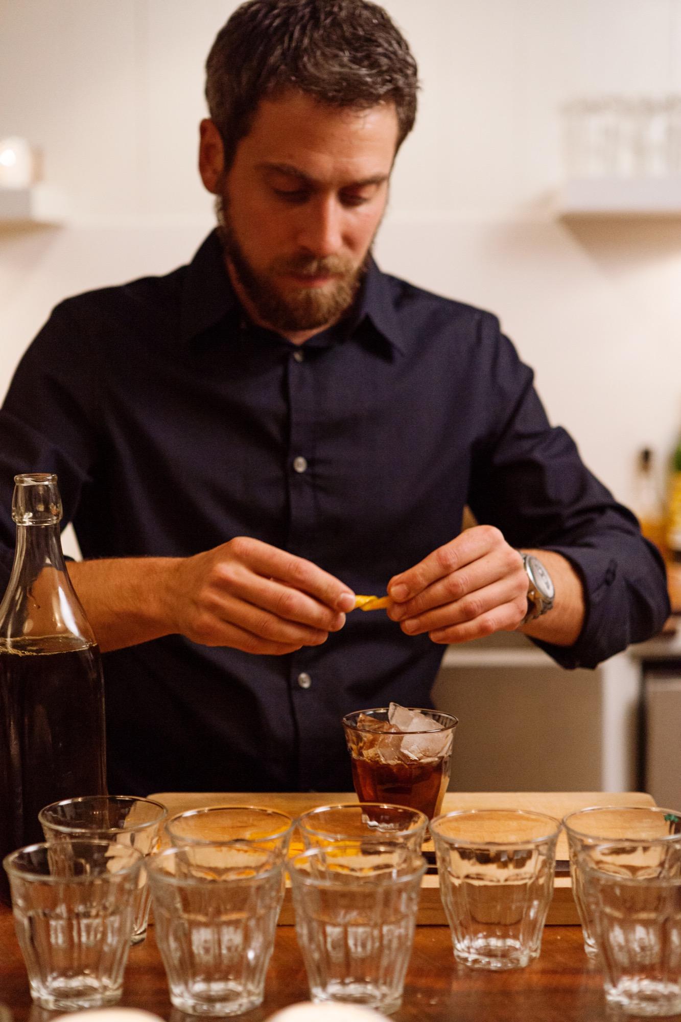 Boulder bartender Jon Watsky making an Alpine Glissade