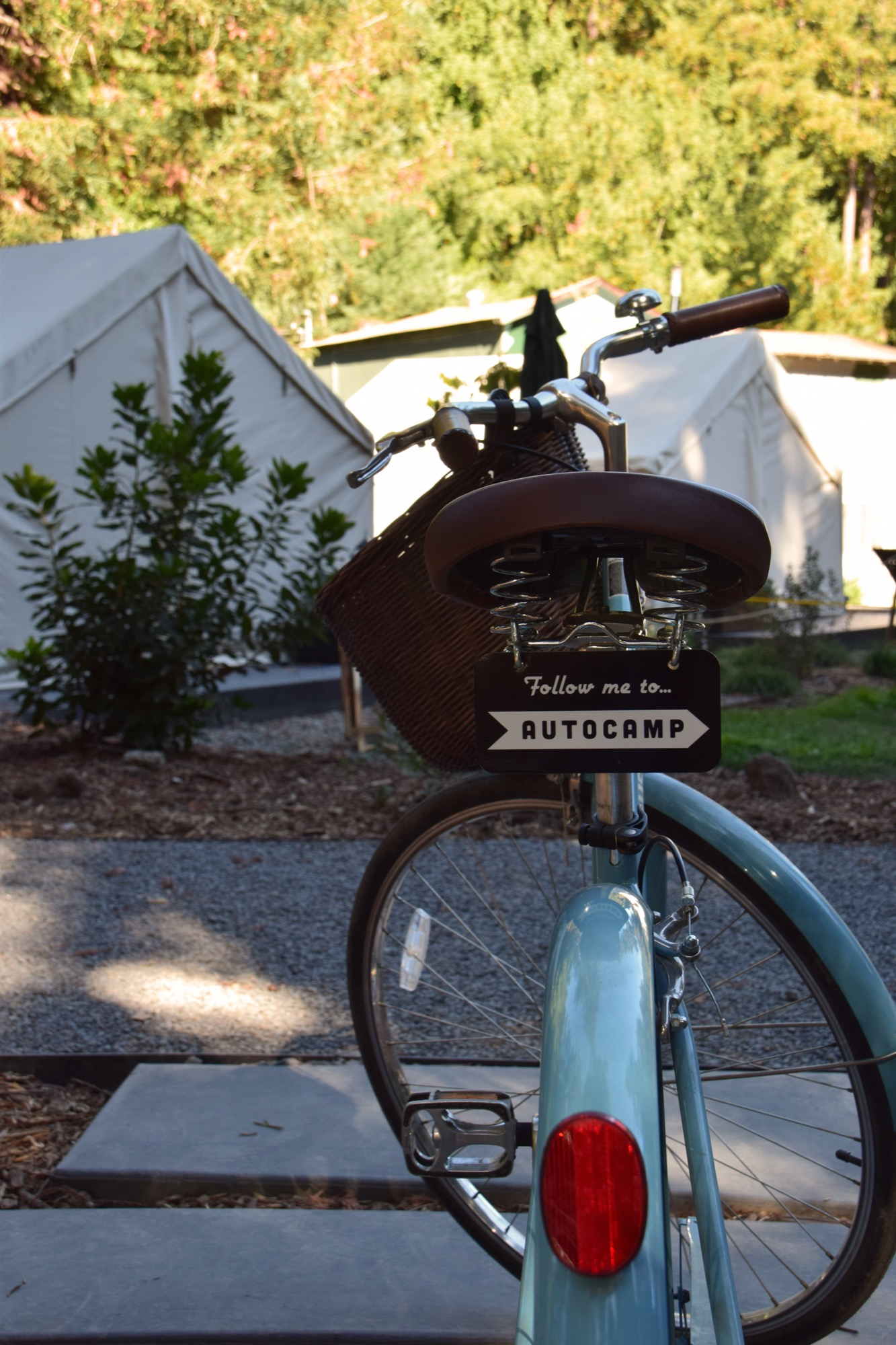 A number of Linus bicycles circulate through AutoCamp, offering guests the chance to ride their way to downtown Guerneville / Photo by Emma Geiszler