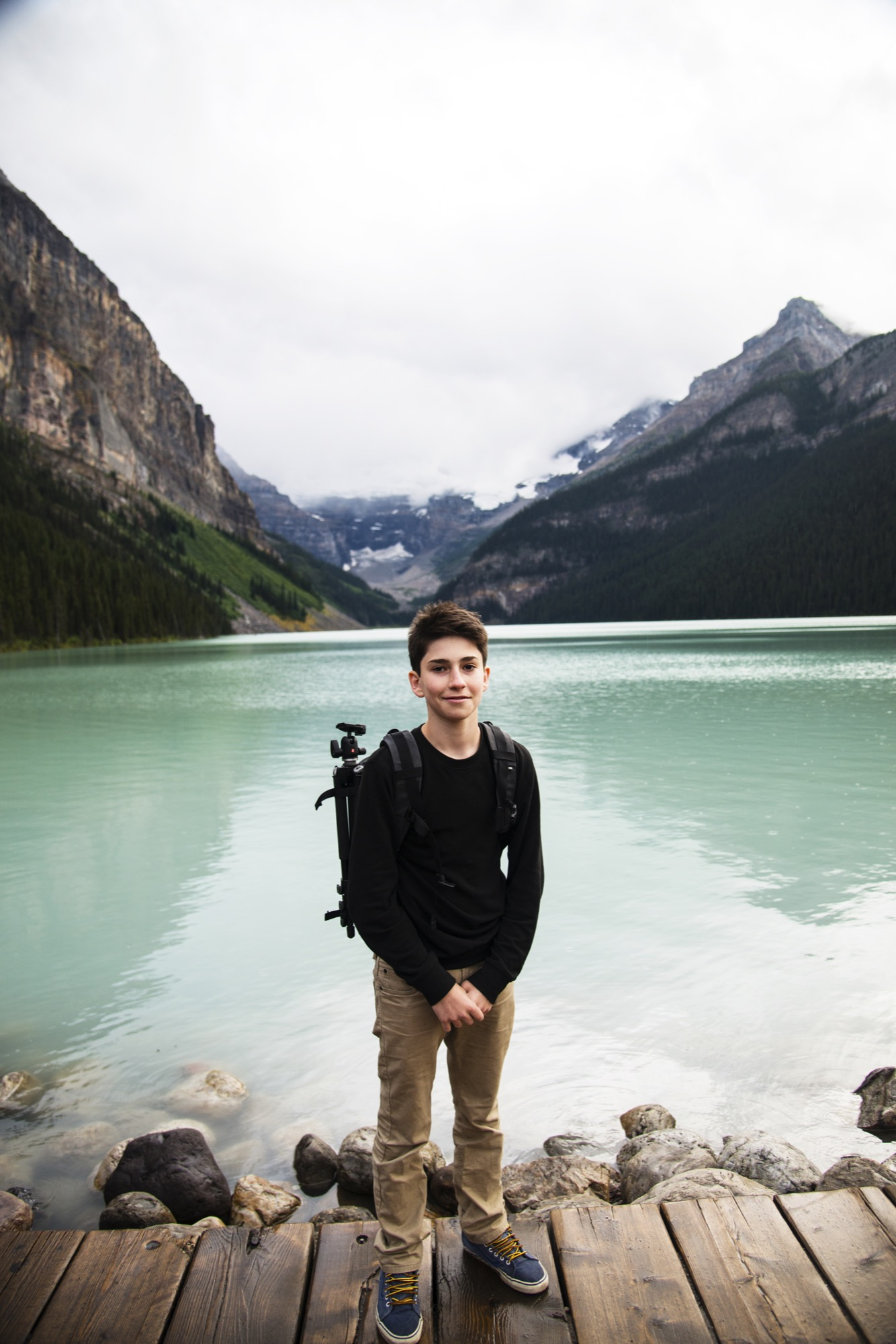 Photographer Joe Goldberg at Lake Louise in Alberta, Canada