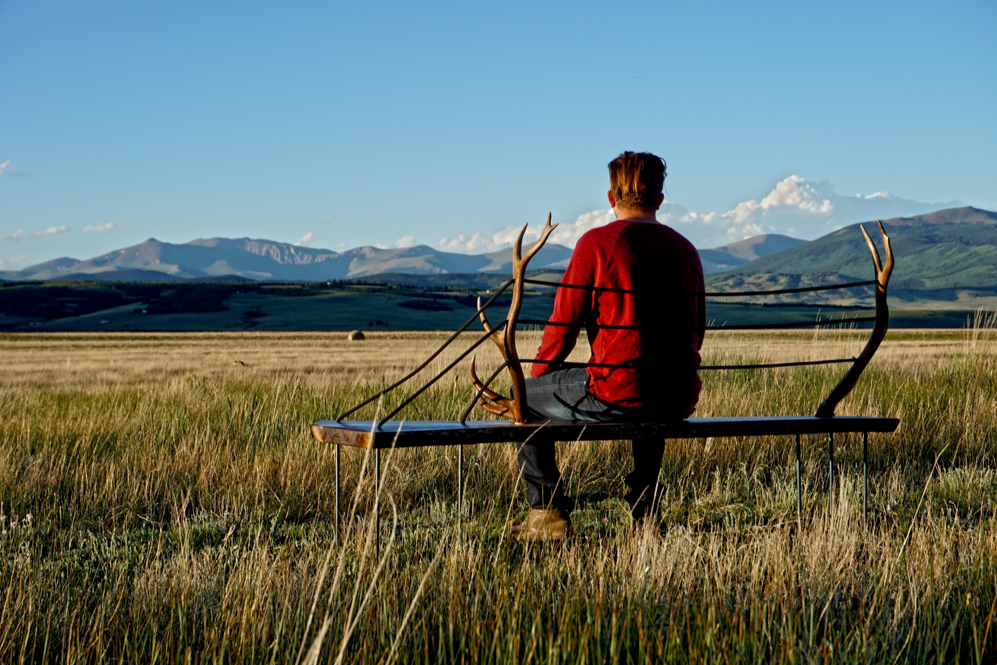 Harris Hine on MTN Lab's antler bench
