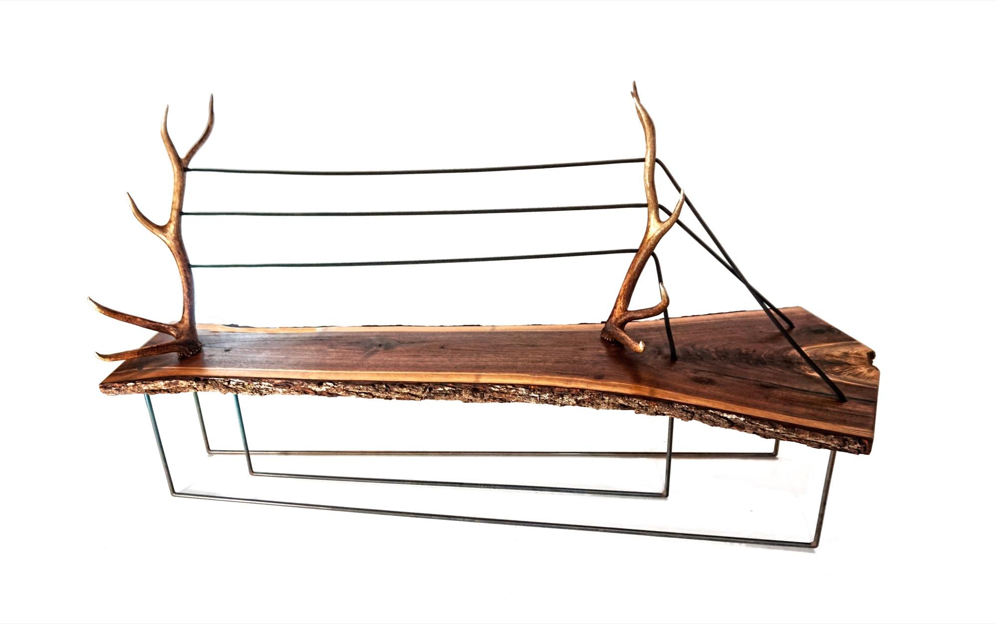 Antler-walnut bench by MTN Lab