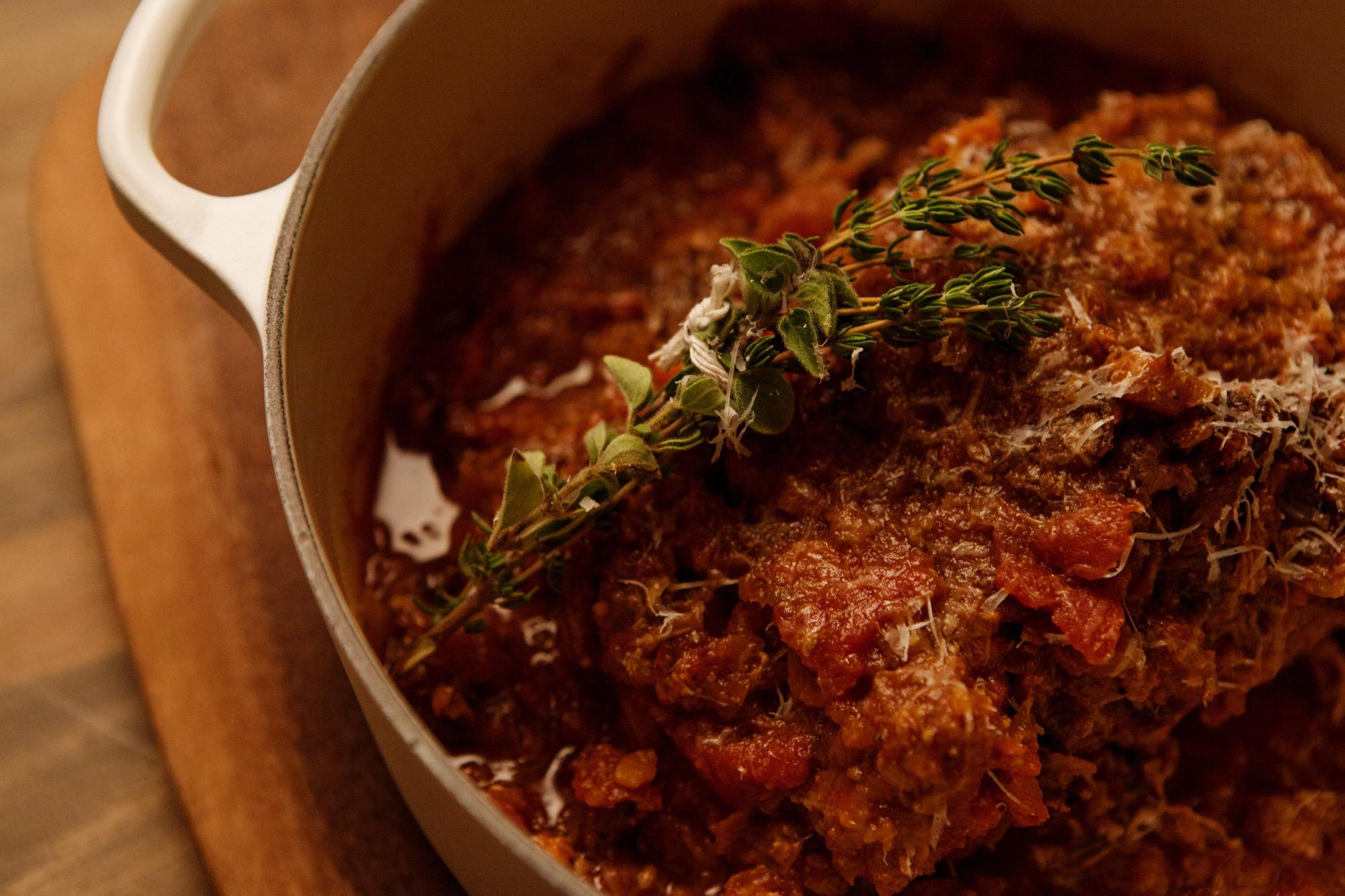 Tomato-Braised Leg of Lamb / Photo by Chris Mueller