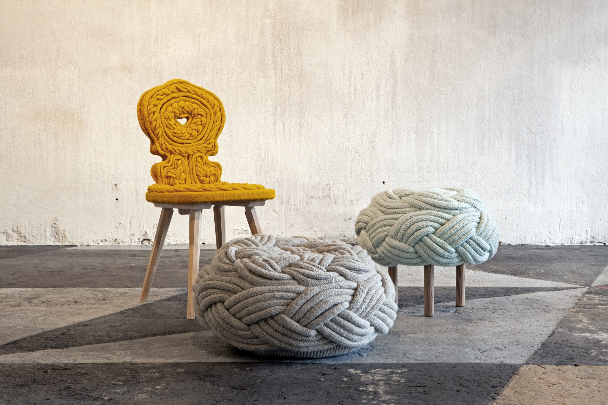 Casta chair and Olann pouf and stool by Claire-Anne O'Brien