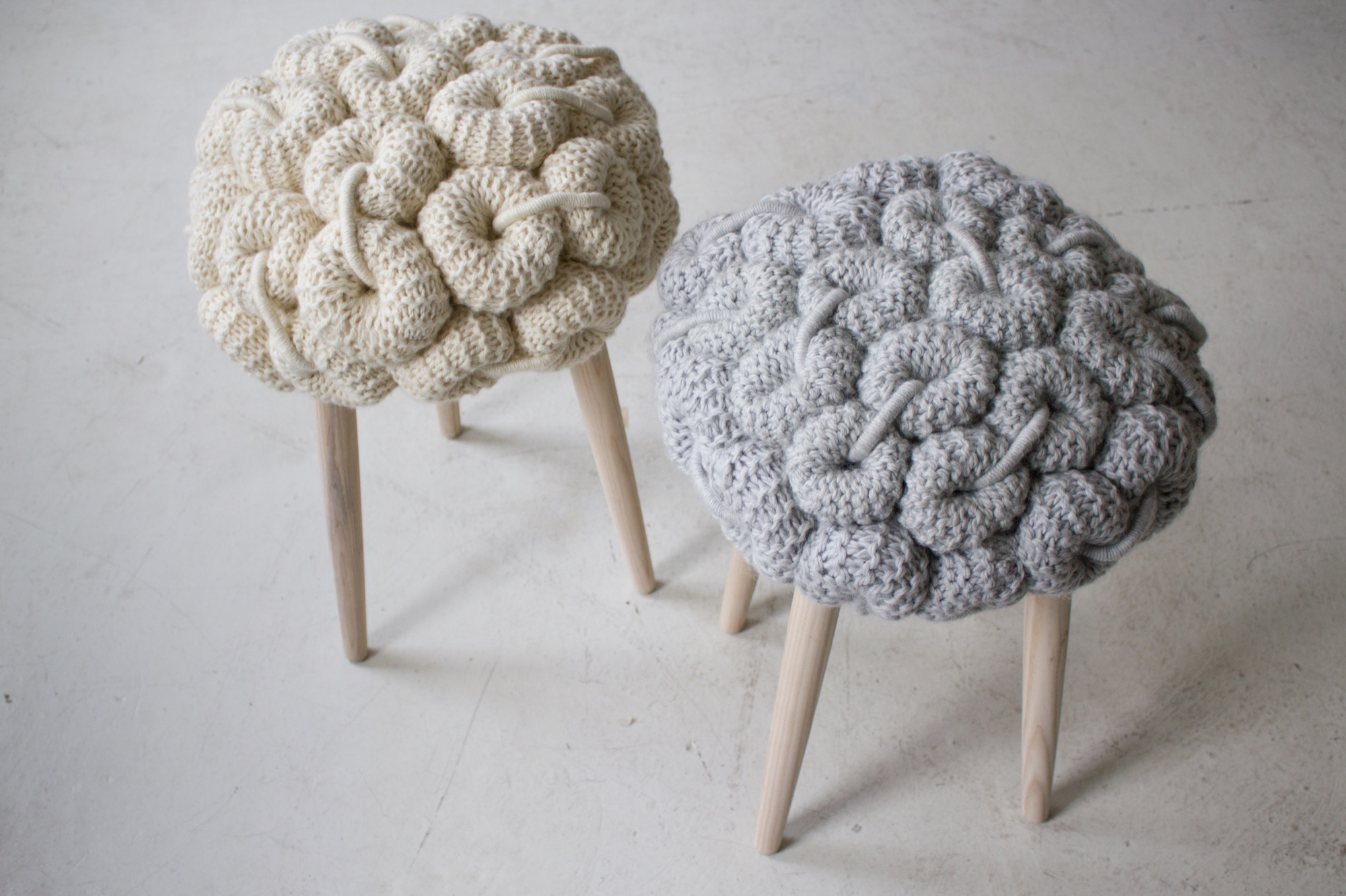 Knit stools by Claire-Anne O'Brien