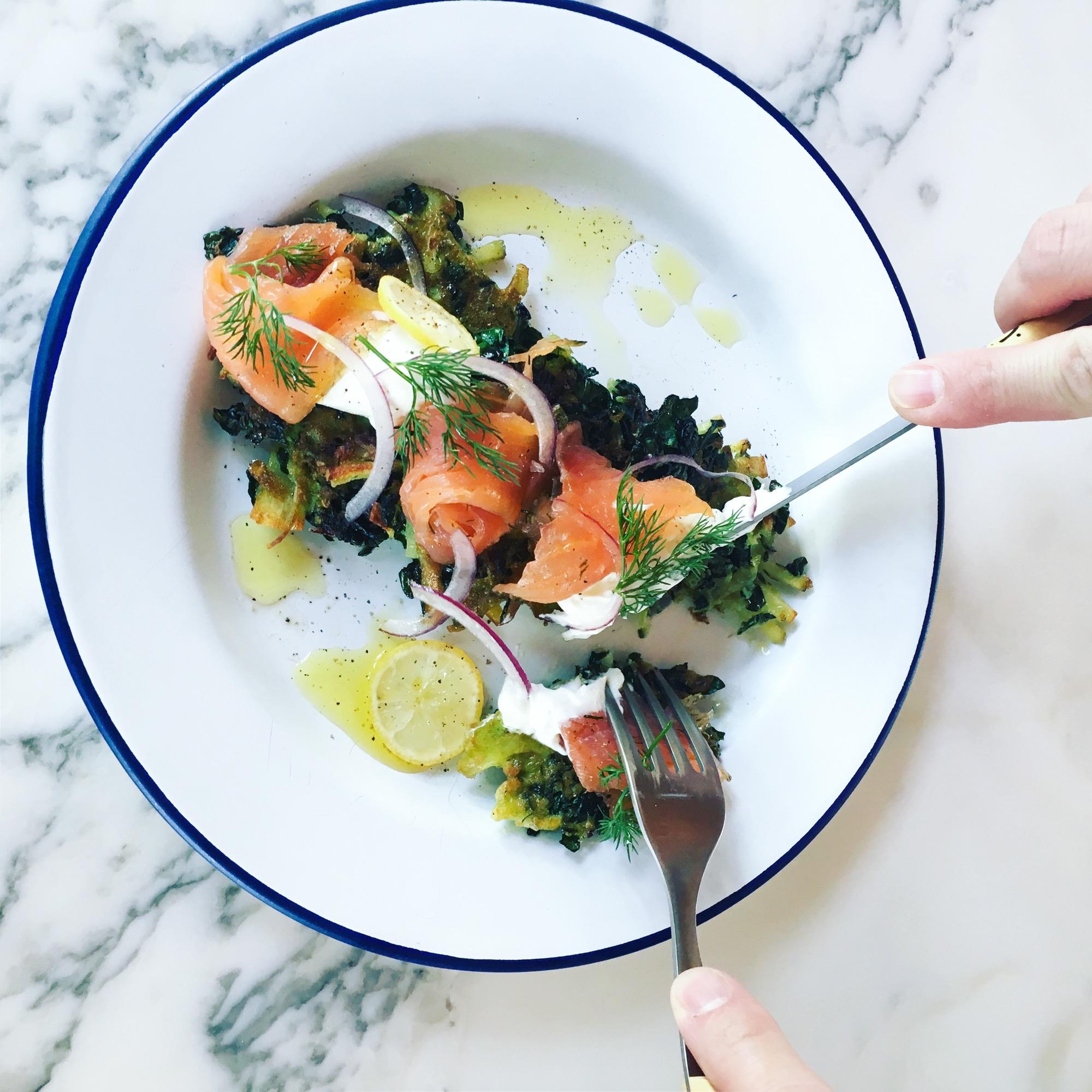 Kale & Potato Pancakes with Gravlax and Nordic Yogurt / Recipe by Alpine Modern