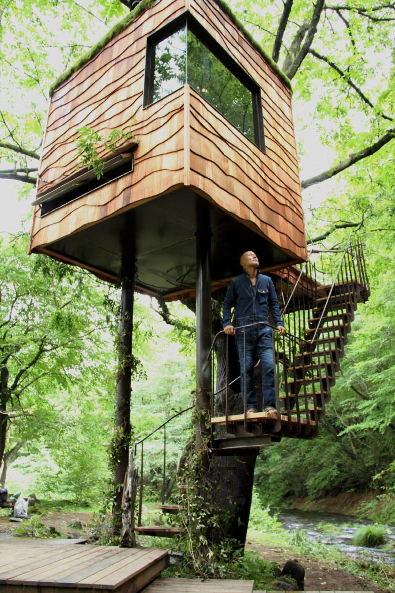 Tiny tree house designed by Japanese architect Takashi Kobayashi of the Tree House People/ Photo Courtesy of Design Made in Japan