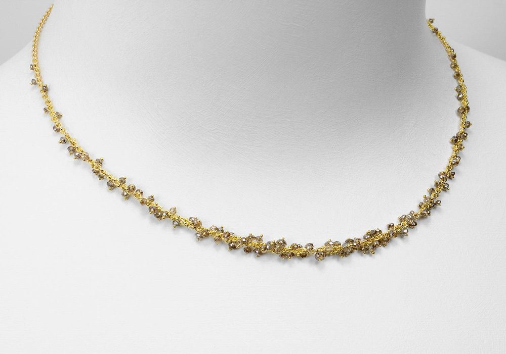 brown diamond bead necklace - click image for more information