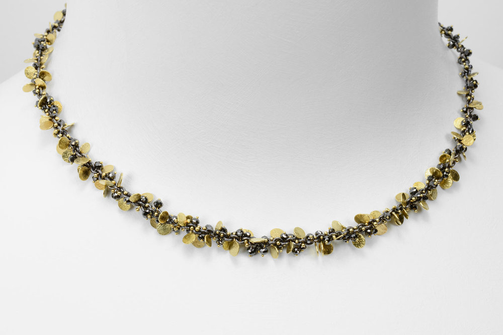 gold and oxidized sterling with black diamond beads - click images to view collections